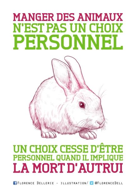 Illustration animaliste - Manger des animaux n'est pas un choix personnel - Florence Dellerie